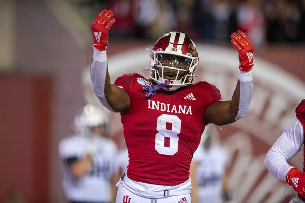 Indiana running back Stevie Scott III (8) reacts in the end zone after scoring a touchdown during the first half of an NCAA college football game against Northwestern, Saturday, Nov. 2, 2019, in Bloomington, Ind. (AP Photo/Doug McSchooler)