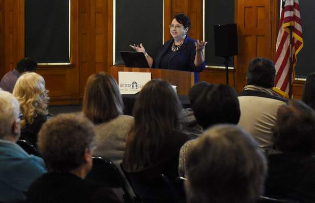 "Rachel Von Stroup | The Journal GazetteAuthor Kayleen Reusser presents ""Bearing Witness: Holocaust through the Eyes of Soldiers"" on Sunday at the History Center . It was the second lecture in the 2019-20 George R. Mather Sunday Lecture Series."
