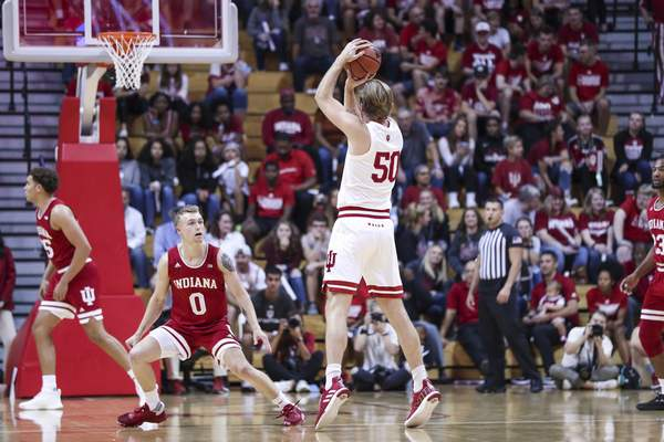 Indiana center Joey Brunk, a transfer from Butler, averaged 7.6 points per game with the Bulldogs last season while shooting 61% from the field. (Courtesy: Indiana Athletics)