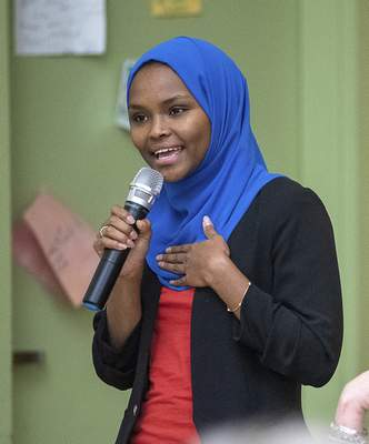 Associated Press Safiya Khalid, seen speaking at a candidates forum in Lewiston, Maine, was elected to its city council.