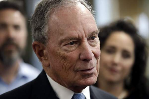 In this Jan. 29, 2019 file photo, potential Democratic presidential candidate Michael Bloomberg speaks to workers during a tour of the WH Bagshaw Company, a pin and precision component manufacturer, in Nashua, N.H. (AP Photo/Elise Amendola, File)