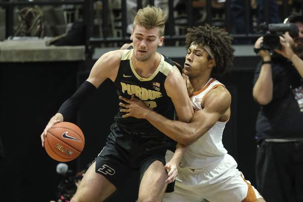 Purdue center Matt Haarms had nine points and two rebounds in Purdue's 70-66 loss to Texas on Saturday night. (AP Photo/AJ Mast)