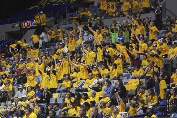Katie Fyfe | The Journal Gazette  The crowd cheers on the Mad Ants during their game against the Long Island Nets at Memorial Coliseum on Saturday.