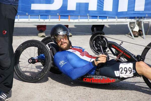Courtesy photo  Fremont's Tom Daviswon his first of five straight Boston Marathon Paracycling championships in 2013. He just missed qualifying for the 2012 London Paralympics but qualified for Brazil four years later, finishing fifth in the time trials and sixth in the road race.