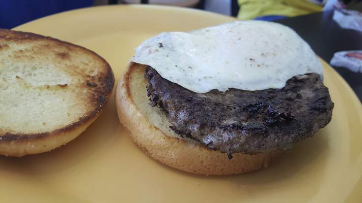 The Egg Burger -- still missing its cheese -- from Leo Cafe.