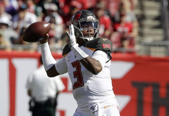 Tampa Bay Buccaneers quarterback Jameis Winston (3) throws an interception against the Arizona Cardinals during the first half of an NFL football game Sunday, Nov. 10, 2019, in Tampa, Fla. (AP Photo/Chris O'Meara)