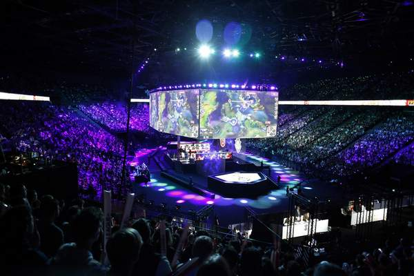 A general view during the final of League of Legends tournament between Team G2 Esports and Team FunPlus Phoenix, in Paris, Sunday, Nov. 10, 2019. (AP Photo/Thibault Camus)