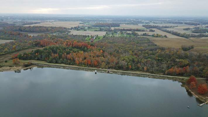 This Oct. 29, 2019 photo, shows the Hargus Lake dam near Circleville, Ohio, one of more than 120 dams that are in poor or unsatisfactory condition and have a hazard rating of high, according to an Associated Press analysis. (Doral Chenoweth III/The Columbus Dispatch via AP)