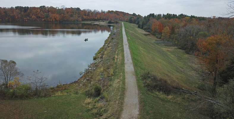 This Oct. 29, 2019 photo, shows the Hargus Lake dam near Circleville, Ohio, one of more than 120 dams that are in poor or unsatisfactory condition and have a hazard rating of