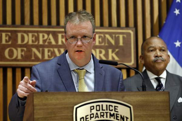 In this Oct. 24, 2019 file photo, Deputy Chief Kevin Maloney speaks during a news conference at police headquarters in New York. (AP Photo/Richard Drew, File)