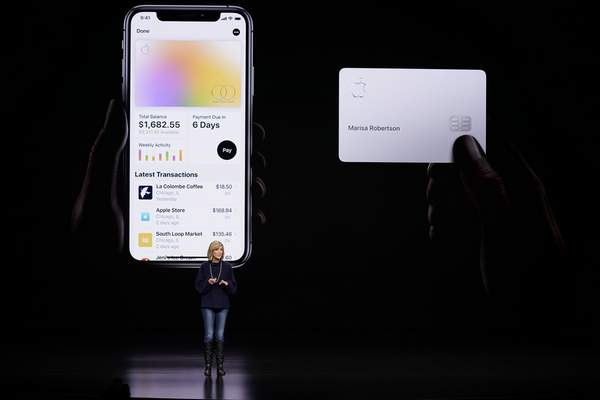 FILE - In this March 25, 2019, file photo, Jennifer Bailey, vice president of Apple Pay, speaks about the Apple Card at the Steve Jobs Theater in Cupertino, Calif. (AP Photo/Tony Avelar, File)