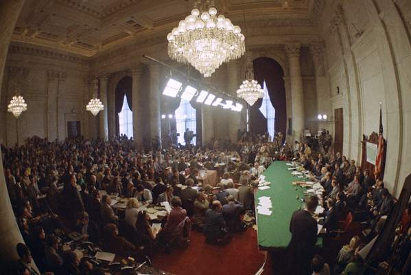 FILE - In this May 18, 1973, file photo, the hearing of the Senate select committee on the Watergate case on Capitol Hill in Washington. (AP Photo)