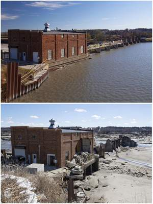 This combination of photos provided by the Nebraska Department of Natural Resources, shows the Spencer Dam near Spencer, Neb., in November 2013, top, when it was holding back water on the Niobrara River and again in March 2019, after the dam failed during a flood. (Nebraska Department of Natural Resources via AP)