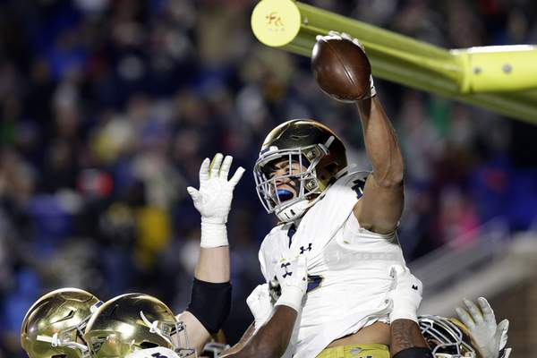 Notre Dame wide receiver Chase Claypool (83) celebrates a touchdown against Duke during the first half of an NCAA college football game in Durham, N.C., Saturday, Nov. 9, 2019. (AP Photo/Gerry Broome)