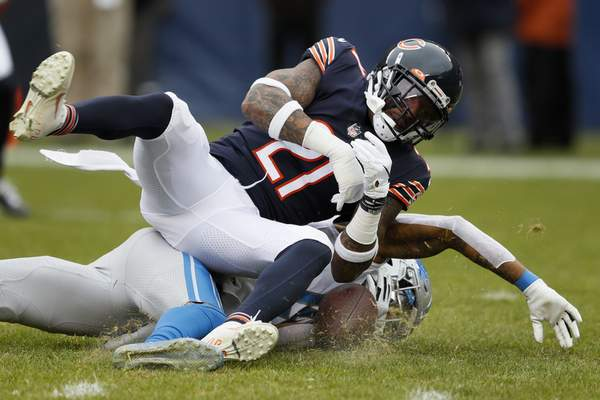 Associated Press  Bears  safety Ha Ha Clinton-Dix  hits  Lions  receiver Kenny Golladay to break up a pass in the first half of Chicago's 20-13 win Sunday.