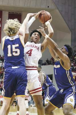 Associated Press Indiana freshman Trayce Jackson-Davis has played well in his first two games with the Hoosiers.