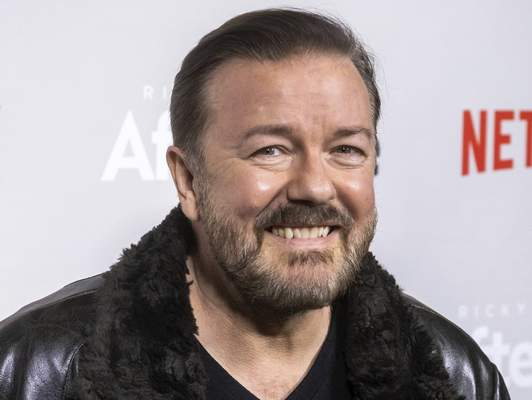 FILE - In this Thursday, March 7, 2019, file photo, Ricky Gervais attends a screening of Netflix's