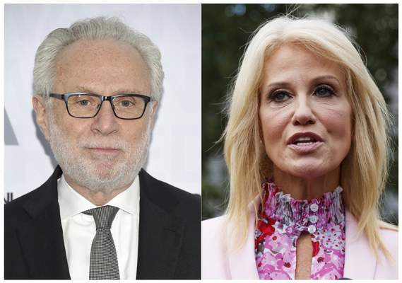 This combination of photos shows CNN's Wolf Blitzer at the WarnerMedia Upfront at Madison Square Garden in New York on May 15, 2019, left, and Counselor to the President Kellyanne Conway speaking to media outside the West Wing of the White House in Washington on July 25, 2019. (AP Photo)