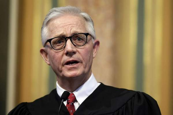 In this Jan. 13, 2016 file photo, Iowa Supreme Court Chief Justice Mark Cady delivers his Condition of the Judiciary address to a joint session of the Iowa Legislature in Des Moines, Iowa. (AP Photo/Charlie Neibergall, File)