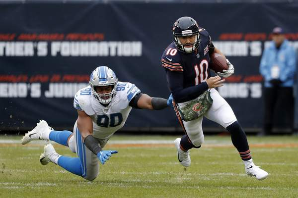 Associated Press Quarterback Mitchell Trubisky helped the Bears end a four-game losing streak last week when Chicago beat the Detroit Lions 20-13.