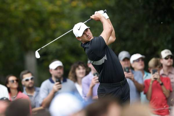FILE - In this Aug. 25, 2019, file photo, Brooks Koepka hits from the second tee during the final round of the Tour Championship golf tournament at East Lake Golf Club in Atlanta. Koepka has withdrawn from the Presidents Cup because of a knee injury he suffered last month in South Korea. Koepka is the No. 1 player in the world and was the leading qualifier for the Presidents Cup, which will be played Dec. 12-15 at Royal Melbourne in Australia. Koepka will be replaced by Rickie Fowler. (AP Photo/John Bazemore, File)