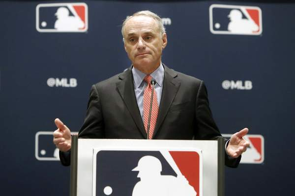 Associated Press Baseball Commissioner Rob Manfred speaks to the media at the owners meeting in Arlington, Texas, on Thursday.
