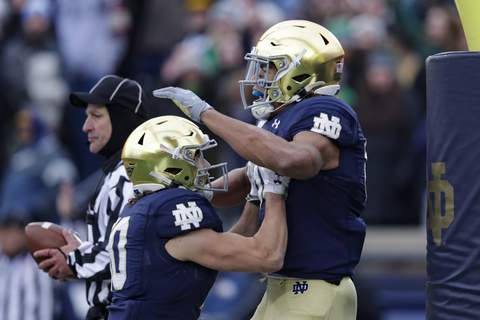Boston College Notre Dame Football Notre Dame wide receiver Chase Claypool celebrates a touchdown against Boston College with wide receiver Chris Finke during the 40-7 Irish win at Notre Dame Stadium on Saturday. (AP Photo/Michael Conroy) (Michael Conroy