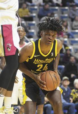 Katie Fyfe   The Journal Gazette Mad Ants' Alize Johnson goes to shoot during the third quarter against the Windy City Bulls at Memorial Coliseum on Sunday.