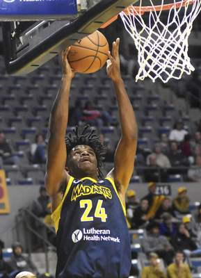 Katie Fyfe   The Journal Gazette Mad Ants' Alize Johnson goes up for a basket during the third quarter against the Windy City Bulls at Memorial Coliseum on Sunday.