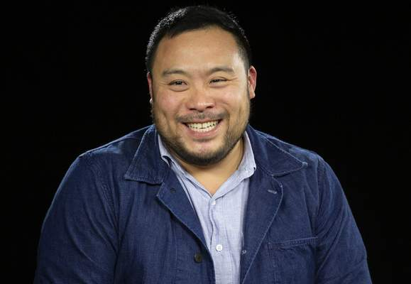 FILE - This Oct. 23, 2019 photo shows celebrity chef David Chang during an interview in Los Angeles. (AP Photo/Damian Dovarganes)