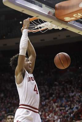 Indiana's Trayce Jackson-Davis, the Big Ten Freshman of the Week, is the Hoosiers' leading scorer and rebounder and leads them into tonight's matchup against No. 17 Florida State. (AP Photo/Darron Cummings)