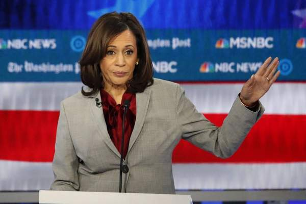 Associated Press: In this Nov. 20 file photo, Democratic presidential candidate Sen. Kamala Harris, D-Calif., speaks during a Democratic presidential primary debate in Atlanta. Harris on Tuesday announced the end of her campaign.