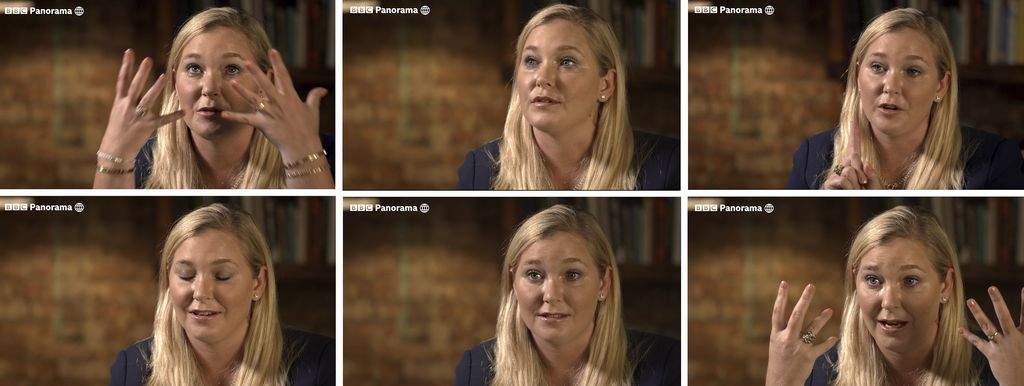 A combo of images taken from video issued by the BBC of Virginia Roberts Giuffre during an interview on the BBC Panorama program that was aired on Monday Dec. 2, 2019. (BBC Panorama via AP)