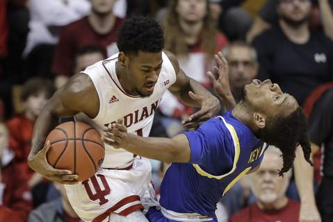 South Dakota St Indiana Basketball Indiana's Al Durhamwill have to help the Hoosiers take care of the ball tonight against a Florida State team that forces more than 18 turnovers per game.(AP Photo/Darron Cummings) (Darron Cummings STF)