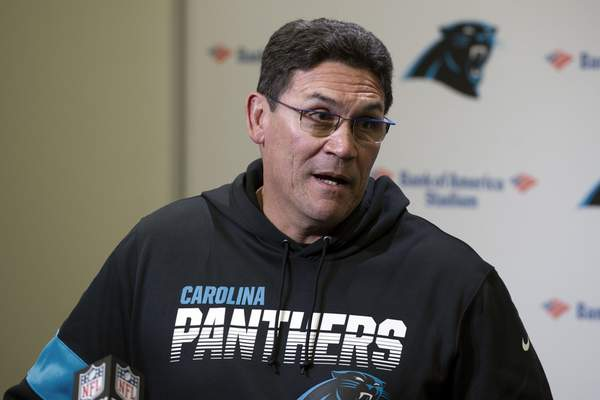 Carolina Panthers head coach Ron Rivera speaks to the media following an NFL football game against the Washington Redskins in Charlotte, N.C., Sunday, Dec. 1, 2019. (AP Photo/Mike McCarn)