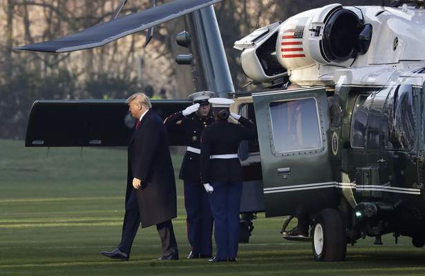 U.S. President Donald Trump arrives at The Grove hotel and resort in Watford, Hertfordshire, England, Wednesday, Dec. 4, 2019 for a NATO leaders meeting. (AP Photo/Evan Vucci)