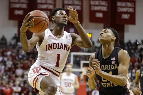 Indiana guard Al Durham goes to the basket during Indiana's 80-64 win over Florida State on Tuesday. The Hoosiers are 8-0. (AP Photo/Darron Cummings)