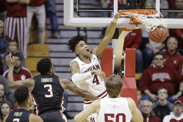 Indiana's Trayce Jackson-Davis dunks for two of his 15 points in Indiana's 80-64 win over No. 17 Florida State on Tuesday at Assembly Hall. (AP Photo/Darron Cummings)