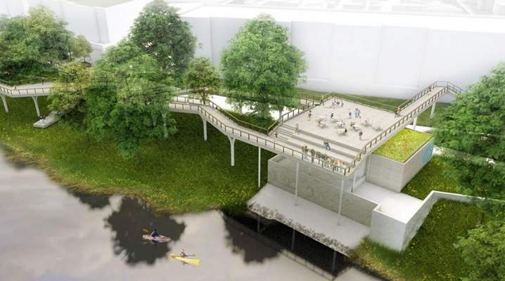 Courtesy  Space for short-term boat, kayak and canoe docking and a variation of the tree canopy trail in Promenade Park that connects to an overlook deck on the 3rd Street Pump Station.