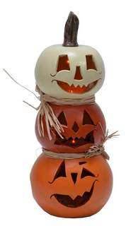 Recalled Mark Feldstein and Associates LED stacked gourd jack O lantern decoration.