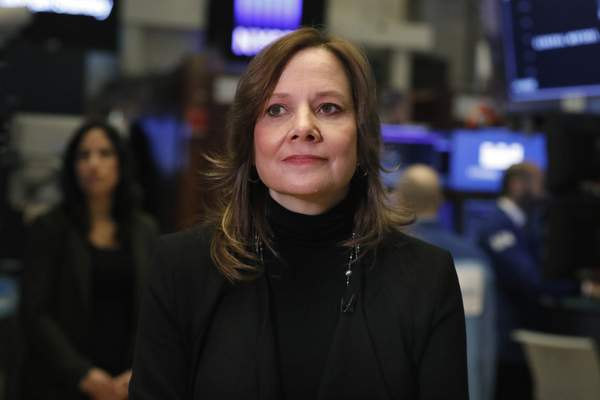 FILE - In this Jan. 11, 2019, file photo Chairwoman and CEO of General Motors Mary Barra is interviewed on the floor of the New York Stock Exchange. (AP Photo/Richard Drew, File)