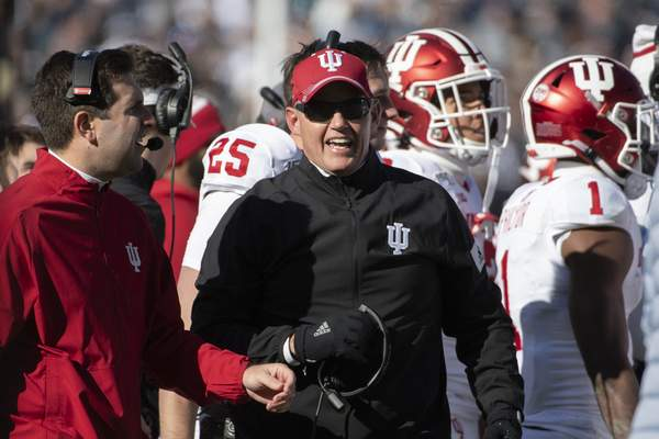 Indiana head coach Tom Allen watches the second quarter action against Penn State during an NCAA college football game in State College, Pa., on Saturday, Nov.16, 2019. Penn State won 34-27. (AP Photo/Barry Reeger)