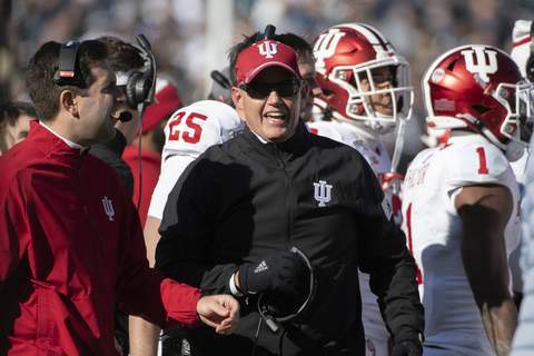 Indiana Penn St Football Indiana head coach Tom Allen watches the second quarter action against Penn State during an NCAA college football game in State College, Pa., on Saturday, Nov.16, 2019. Penn State won 34-27. (AP Photo/Barry Reeger) (Barry Reeger FRE)