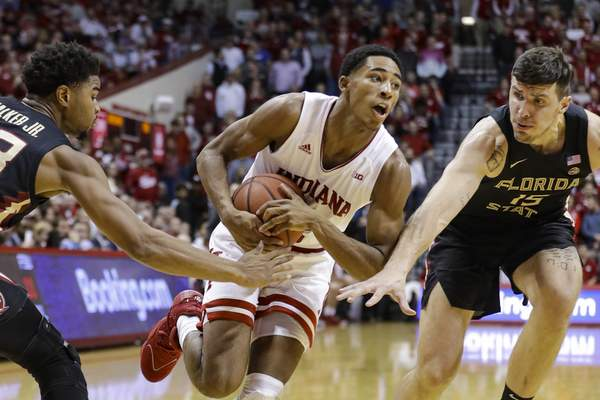 Associated Press  Indiana guard Armaan Franklinscored a career-high nine points against Florida State and will probably have to play big minutes again against Wisconsin with point guard Robert Phinisee doubtful for the game.(AP Photo/Darron Cummings)