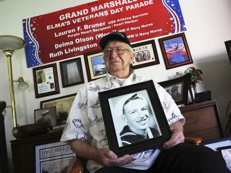 Pearl Harbor Last Arizona Interment Associated Press  Lauren Bruner, pictured in 2016, was a survivor of the USS Arizona attack in 1941 and will have his ashes placed in the wreckage of the ship  in Pearl Harbor, Hawaii.  (Reed SaxonSTF)