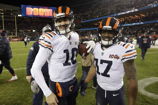 Cowboys Bears Football Associated Press Bears quarterback Mitchell Trubisky and wide receiver Anthony Miller celebrate after Chicago beat Dallas 31-24 on Thursday night. (Morry GashSTF)