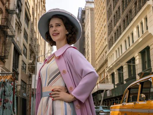"""This image released by Amazon Studios shows Rachel Brosnahan in a scene from """"The Marvelous Mrs. Maisel."""