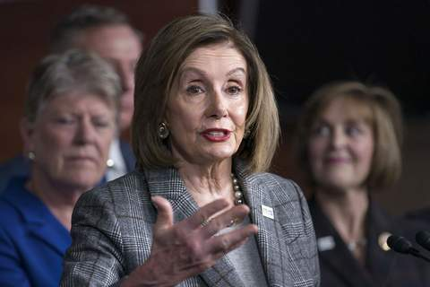 In this Dec. 6, 2019, photo, Speaker of the House Nancy Pelosi, D-Calif., discusses her recent visit to the UN Climate Change Conference in Madrid, Spain, at the Capitol in Washington. (AP Photo/J. Scott Applewhite)