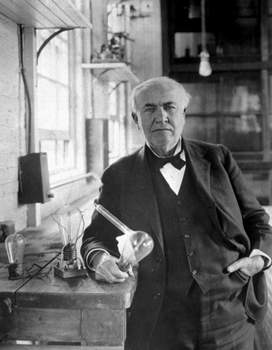 """American Innovation Photo credit In this undated photo, Thomas Alva Edison holds the """"Edison Effect"""" light bulb in his West Orange, New Jersey, laboratory, the first long-lasting, practical electric light bulb. Edison is said to have livedbriefly in Fort Wayne, where he worked in 1864 as a telegrapher for the Wabash Railroad Company. (AnonymousHO)"""