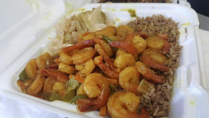 Curried shrimp from Pepper & Spice Jamaican Restaurant on Lower Huntington Road.